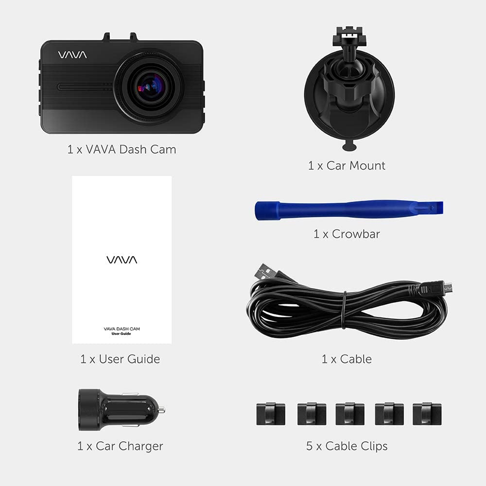 VAVA Dash Cam 1080P Full HD Car DVR Dashboard Camera Loop Recording Motion Detection Driving Recorder with 3 Inch LCD Screen Black