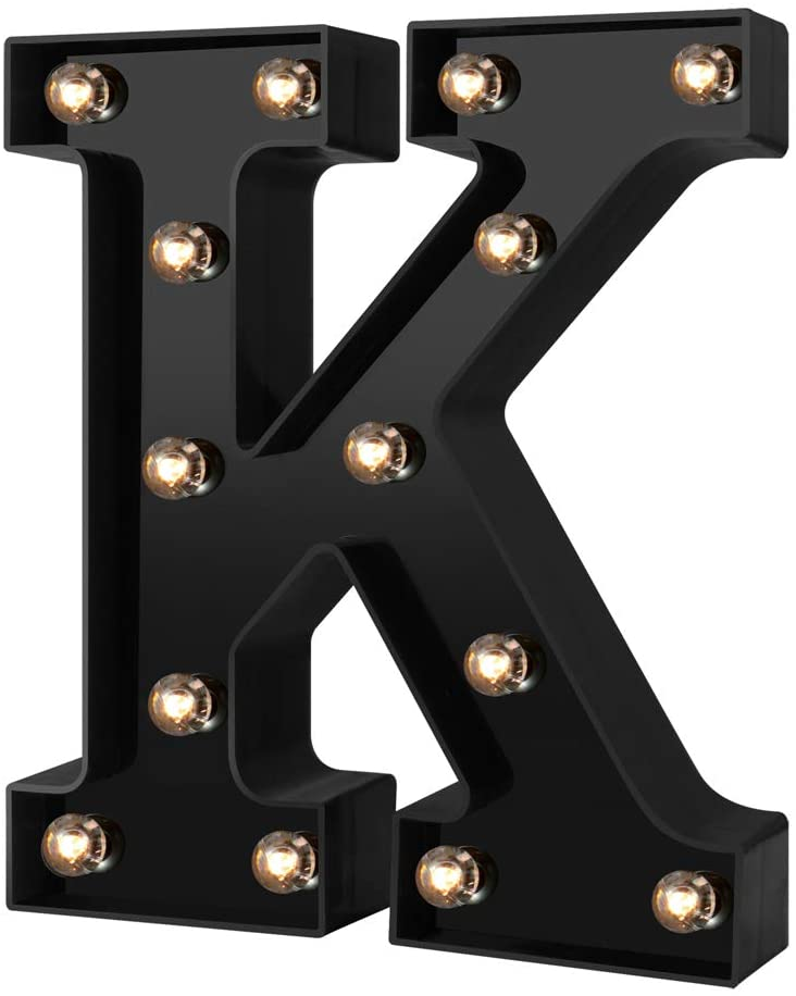 Adorn Life Led Marquee Letter Lights Newly Design Light up Letters for Events Wedding Party Birthday Home Bar DIY Decoration(Cool Black K)