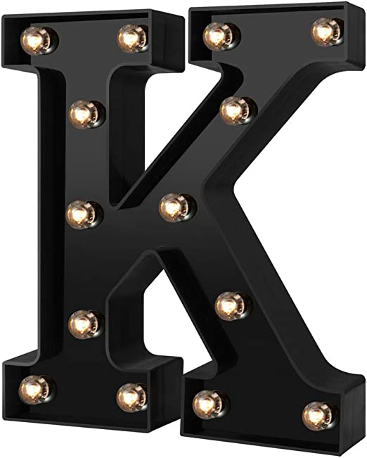Led Marquee Letter Lights Newly Design Light up Letters for Events Wedding Party Birthday Home Bar DIY Decoration(Cool Black K)