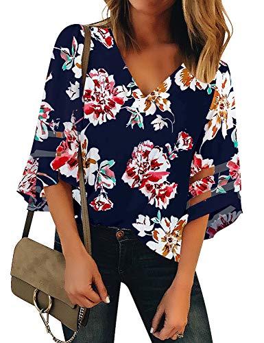 Vetinee Women's 3/4 Bell Sleeve Shirt Mesh Panel Blouse V Neck Casual Loose Tops