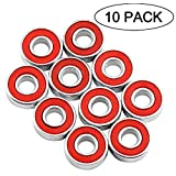 608 bearing sealed - 608RS 8 x 22 x 7 mm Deep Groove Ball Bearing, 10 Pcs 608 2RS, Double Red Rubber Sealed Ball Bearings, Fit for Skateboard Bearings, 3D Printer RepRap Wheel, Roller Skates, Inline Skates (Pack of 10)