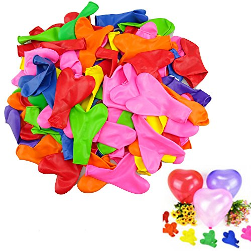 yueton Pack of 100 Assorted Colors Love Heart Shaped 12 inch Latex Balloon for Home Room Celebration Party Wedding Birthday Decoration -