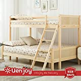 UEnjoy Natural Pinewood 3FT 4FT Bunk Bed Triple Sleeper Wooden Finished Bedroom Furniture for Kids Childrens Adults