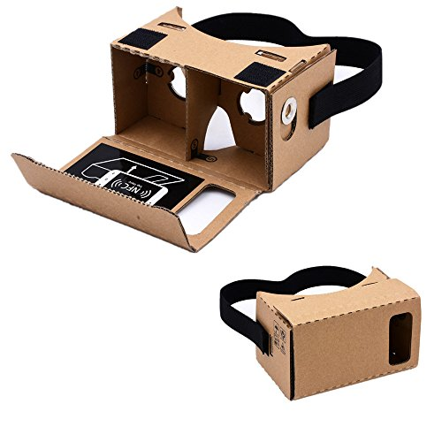 """3Csmart Google Cardboard,3D Glasses VR Virtual Reality DIY Kit VR Headset for 3D Movies and Games Compatible with Android Smartphone Up to 3.5""""-5"""" Easy Setup Machine"""