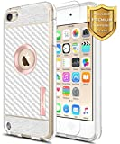 ipod touch ebay - iPod Touch 5th Generation Case, Apple iPod Touch 6th Generation Case with [Tempered Glass Screen Protector], NageBee [Frost Clear] [Carbon Fiber] Slim Soft TPU Cover Case (Rose Gold)
