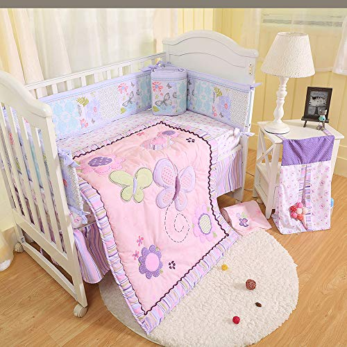 Brandream Crib Bedding Sets for Girls with Bumpers Butterfly Floral Baby Nursery Bedding, Pink & Purple, 9 Pieces
