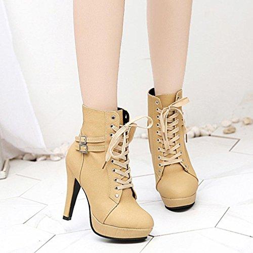 Beige Chaussures Boots Soldes Bottines Haute Ankle Talon overdose Lacets Bottes Cuir Femme Sexy Plateforme À Noire En aq4qd