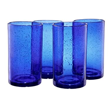 Artland Iris Highball Glasses, Cobalt Blue, Set of 4