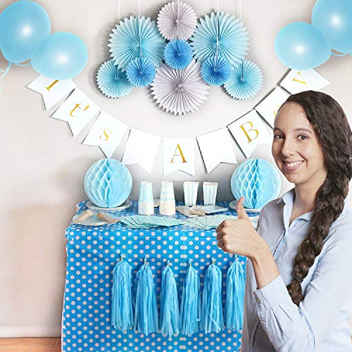 - Baby Shower Decorations Complete Set Napkins + Plates BABY SHOWER IT'S A BOY Banner Paper fans Honeycomb Balls Tassels Balloons Table Cloth Blue Party Decoration Nursery Room decor for New Parent