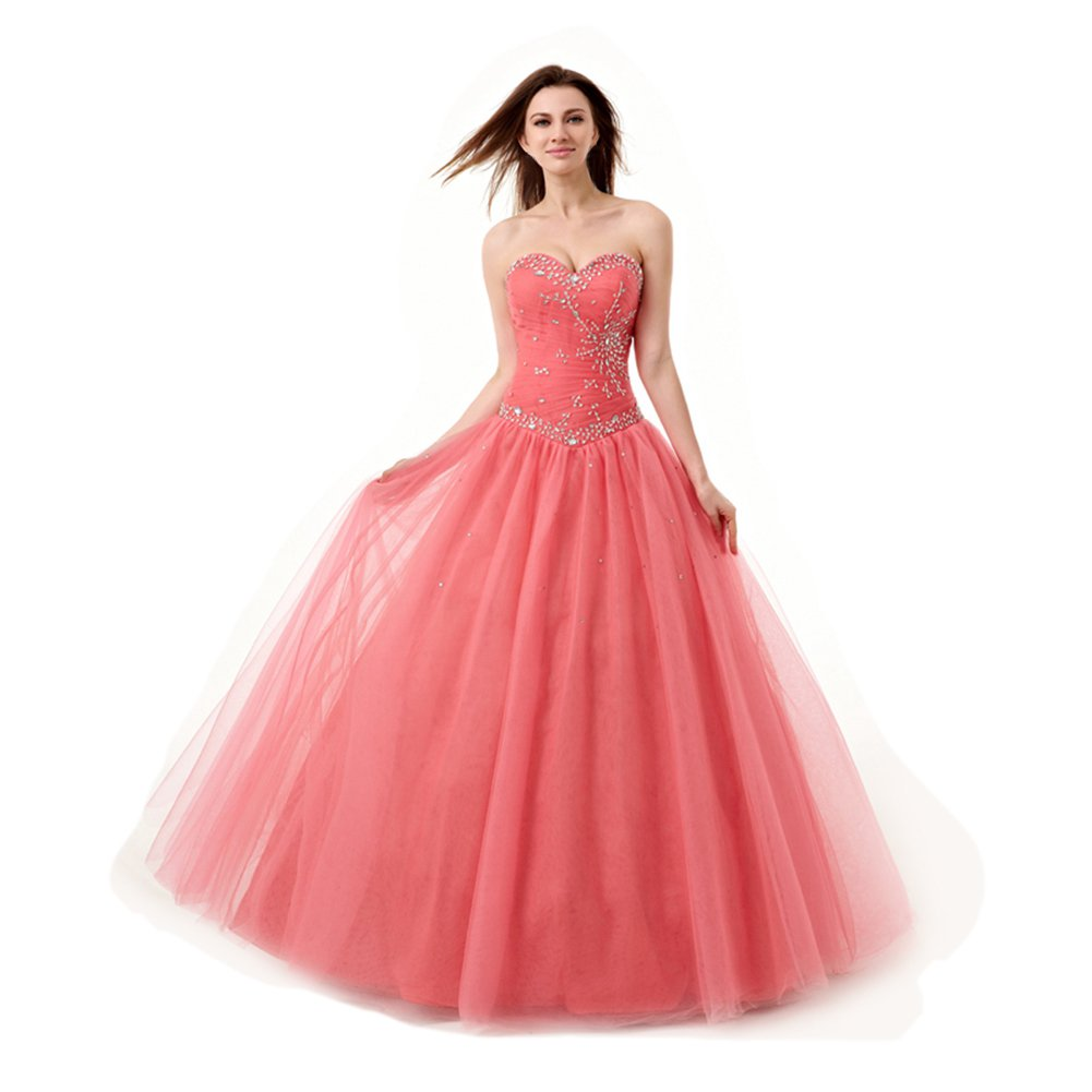 ea2674102b Amazon.com  Engerla Women s Sweetheart Beaded Sequins Lace-up Tulle Prom  Dress  Clothing