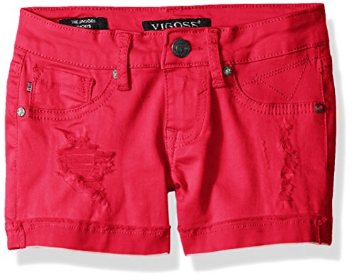 Vigoss Girls' 5 Pocket Hyper Stretch Short, Little Girls, Pink, 4