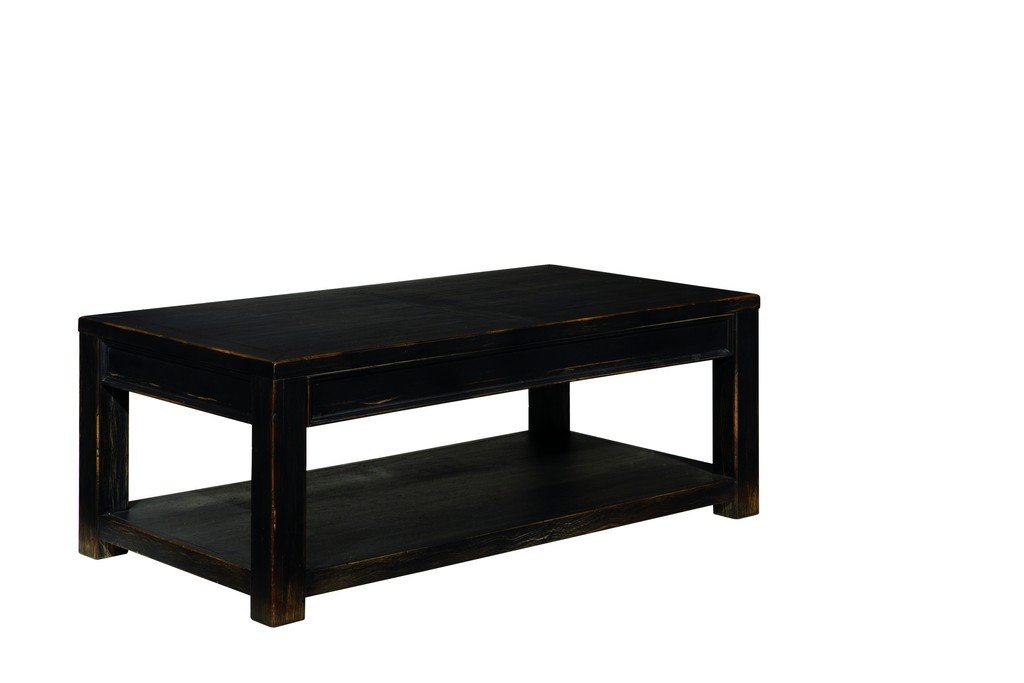 Ashley Furniture Signature Design - Gavelston Black Coffee Table - Cocktail Height - Rectangular - Weatherworn Black