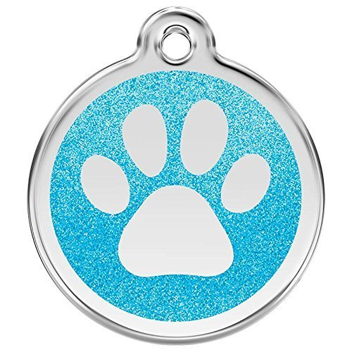 (Red Dingo Stainless Steel with Glitter Pet I.D. Tag - Paw Print (aqua, medium))