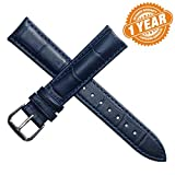 12mm Women's Dark Blue Leather Watch Band Straps Replacement Genuine Calf Hide Lightly Padded