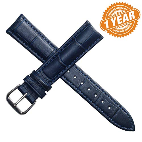 autulet 22mm Blue Leather Watch Band Straps Genuine Calfskin Alligator Grain Matt Padded