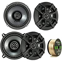 2 Pair Car Speaker Package: 2x Kicker 43CSC5 450-Watt 5-1/4 Inch 2-Way Black Coaxial Speakers + 2x CSC654 600-Watt 6-1/2 Inch 2-Way Speakers - Bundle Combo With Enrock 50 Foot 14 Gauge Speaker Wire