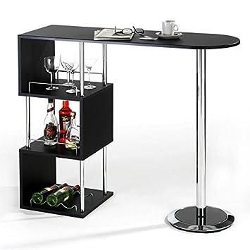 Table haute de bar VIGANDO mange-debout comptoir piètement métal chromé 3 tablettes bois MDF noir mat