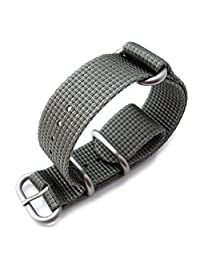 MiLTAT 22mm Zulu Watch Band 3D Woven Thick Nylon, Light Grey, Brushed Hardware