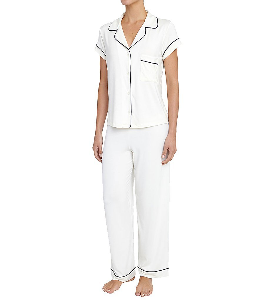 eberjey Women's Gisele Pj's S/Slv Pant Set, Ivory/Navy, Small