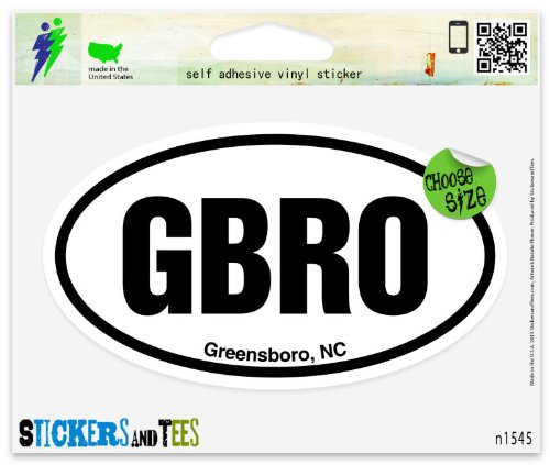 GBRO Greensboro NC Oval Vinyl Car Bumper Window Sticker 5
