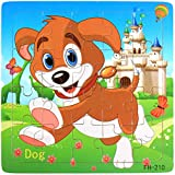 1-5 Years Toddler Baby Kids Wooden Animals Puzzle Educational reschool Shape Color Recognition Block Learning Growing Toys, Developmental Training Toys Christmas Birthday Gift -5.78 x 5.78 inches (J)