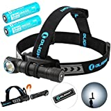 Olight H2R Cree LED 2300 Lumens Headlamp - a Multi-Function 18650 Rechargeable Headlight for Hunting Night Fishing Riding Running -Bundle with 1 more battery and Patch (Cool White)
