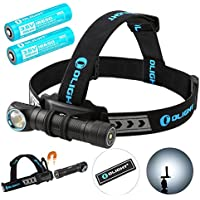 Olight H2R Cree LED 2300 Lumens Headlamp - a Multi-Function 18650 Rechargeable Headlight for Hunting Night Fishing Riding Running -Bundle with 1 more battery and Olight Patch (Cool White)