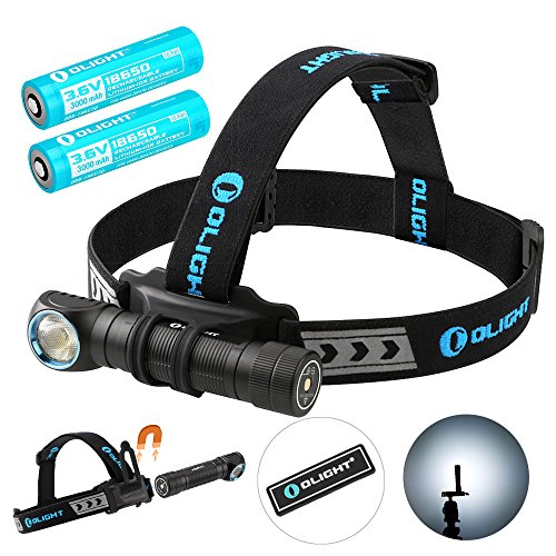 Olight H2R Cree LED 2300 Lumens Headlamp - a Multi-Function 18650 Rechargeable Headlight for Hunting Night Fishing Riding Running -Bundle with 1 more battery and Olight Patch (Cool White) by Olight