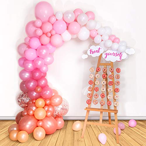 Bloonsy Balloon Garland Kit | Pink Balloons Arch Kit | 120 Pack | Rose Gold Confetti White Pastel Blush Pink Balloons | Baby Shower Bridal Girls Birthday Party Decorations Supplies Decorating Strip]()