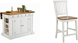 Home Styles Americana White & Distressed Oak Kitchen Island by Home Styles & ITE & Distressed Oak bar Stool, 24""