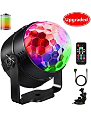 LED Bola de Discoteca,Emooqi 12 colores Strobe Light sonido bola de discoteca LED Party lámpara + 5-7 horas No hay necesidad de cargar + Sonido sensible de 48dB para Navidad Pub boda Club Show