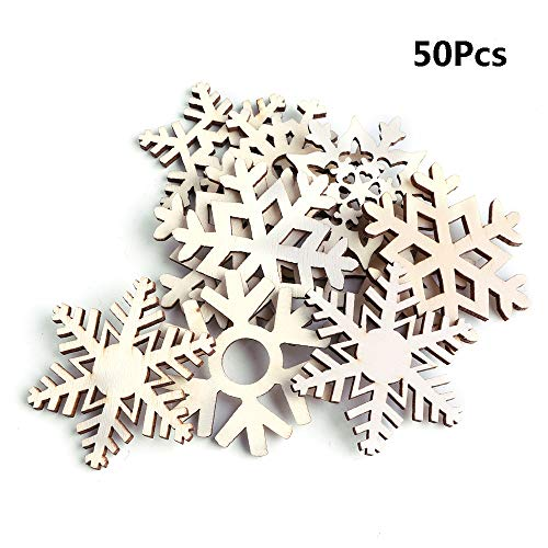 click-me 50Pcs Christmas Wooden Ornaments Hanging Different Snowflake Xmas Cutouts Unfinished Wood Slice for Kids Crafts Wedding DIY Christmas Tree Decoration (Different Snowflak)