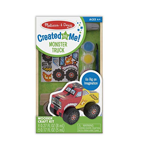 Melissa & Doug Created by Me! Monster Truck Wooden Craft Kit - The Original (27 Stickers, Paint & Glue, Great Gift for Girls and Boys - Best for 4, 5, 6, 7 and 8 Year Olds)