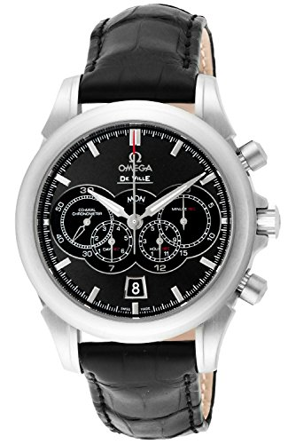 Omega De Ville Black Dial Co-axial Automatic Winding Alligator Leathe Chronograph 100m Waterproof Men Watch 422.13.41.52.06.001