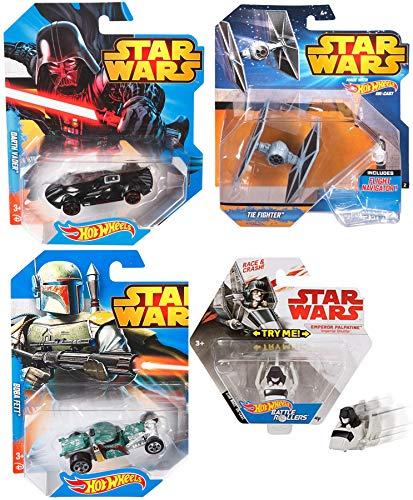 Star Race & Crash Cars and Ships Star Wars Hot Wheels Darth Vader / Bobba Fett Racer + Battle Rollers Emperor Imperial Shuttle & Tie Fighter with Flight Navigator Bundle