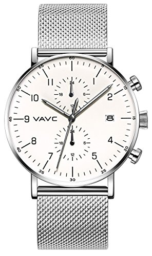 VAVC Men's Fashion Minimalist Casual Dress Silver Milanese Mesh Band Waterproof Quartz Analog Wrist Watch with White Dial (Mesh White Watch Dial)
