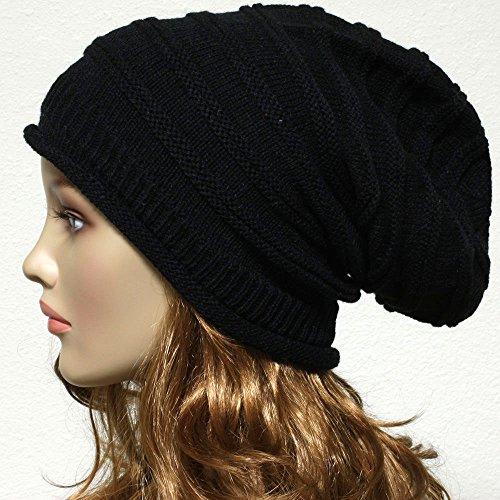 Knit Baggy Beanie Oversize Winter Hat Ski Slouchy Chic Cap Unisex Winter Cap (Burgundy Felt Bonnet)