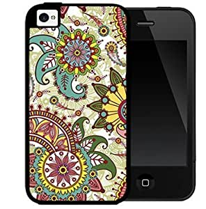 Colorful Paisley Floral Pattern (iPhone 4/4s) 2-piece Dual Layer High Impact Black Silicone Cover Case