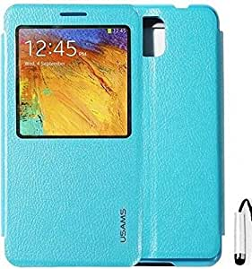 USAMS Samsung Galaxy Note 3 III N9000 N9005 N9002 N7200 Starry Sky S View Flip Leather Stand Case Cover Included Calans Screen Protector Mini Stylus -(Light Blue)