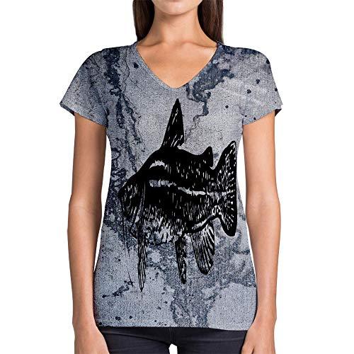 - Idakoos Animal Flat Headed Catfish 3D - Women V-Neck T-Shirt Polyester Novelty