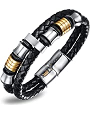 Men's handmade silver tone Titanium steel Silicone leather fashion bracelet (P887)