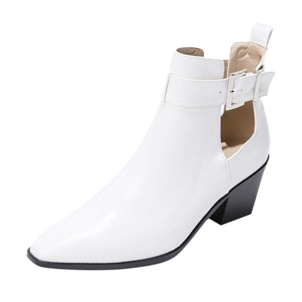 Yanvan Ankle Booties for Women, Women's Fashion Solid Color Short Boots Pointed High-Heeled Belt Buckle Booties by Yanvan