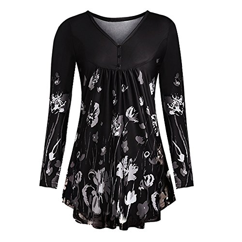 Xinantime Women Loose T Shirt Ladies Print O-Neck Button Pullover Tops Plus Size Long Sleeve Fluffy Dress Blouse from Xinantime