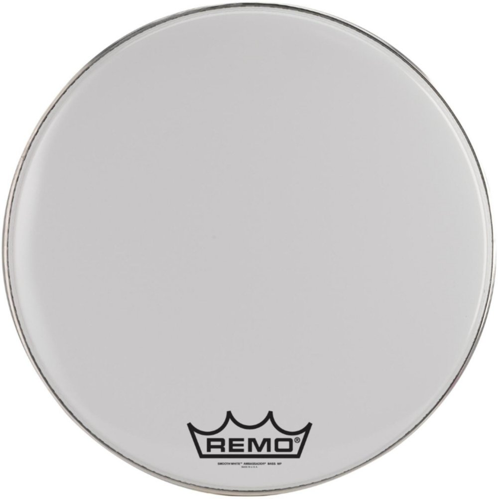 Remo BR1220MP-U Ambassador Smooth White Crimp lock Bass Drumhead, 20