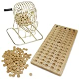 All Natural Wooden Bingo Set with Brass Cage - Includes 100 Bonus Markers!