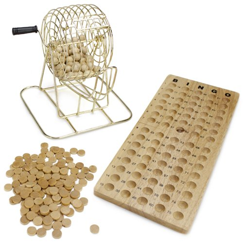 All Natural Wooden Bingo Set with Brass Cage - Includes 100 Bonus Markers! by RBS