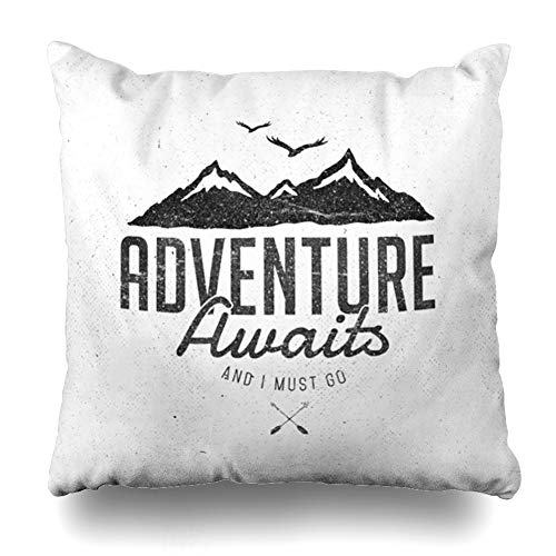 Ahawoso Throw Pillow Cover Square 16x16 Inches Adventure Awaits Fashion Design Decorative Pillow Case Home Decor Pillowcase