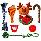 FAYOGOO Durable Dog Chew Toys, Dog Pals Toys for Playtime and Teeth Cleaning, Dog Chew Ropes, Dog Ball, Dog Squeak Toys, Plush Dog Squeak Toy Fun Toys Set for Small and Medium Doggies, 7 Pack