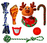 FAYOGOO Dog Christmas Stocking Gift, 7 Packs Dog Christmas-Toys Including Dog Rope Toy and Indestructible Ball and Squeaky Toys for Small and Medium Dog Review
