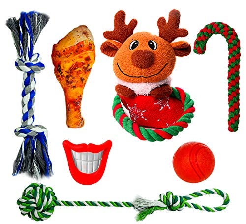 FAYOGOO Dog Christmas Stocking Gift, 7 Packs Dog Christmas-Toys Including Dog Rope Toy and Indestructible Ball and Squeaky Toys for Small and Medium Dog